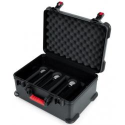 Case Gator de fibra para 7 micrófonos inalámbricos y accesorios.