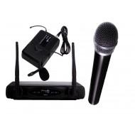 Sistema Inalámbrico UHF con microfonos de mano y lavalier Prodb